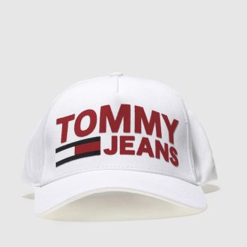 Tommy Hilfiger White & Red Tj Flock Caps and Hats