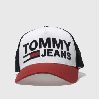 Tommy Hilfiger White & Navy Tj Flock Cap Caps and Hats