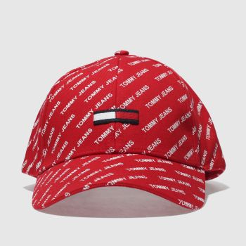Tommy Hilfiger Red Tj Printed Flag Caps and Hats