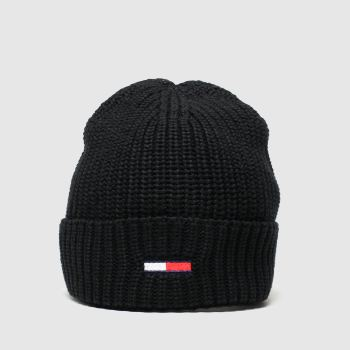 Tommy Hilfiger Black Tjw Basic Flag Rib Beanie Caps and Hats
