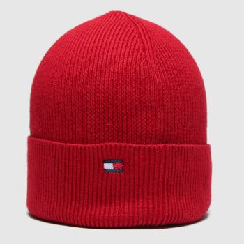 Tommy Hilfiger Red Esential Knit Beanie Caps and Hats