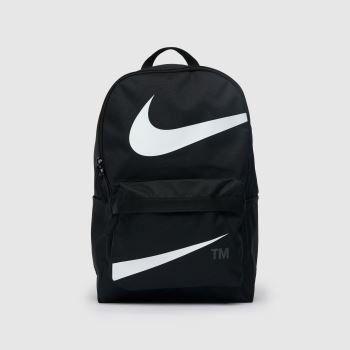 Nike Black & White Heritage Swoosh Backpack Bags