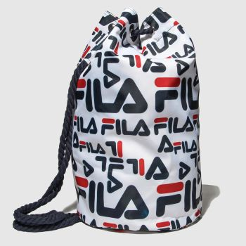 Fila White & Navy Cassius Shoulder Sack Bags