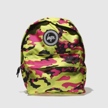 Hype Black & Green Fluro Splash Camo Backpack Bags