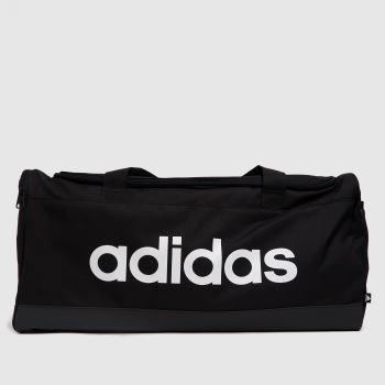 adidas Black & White Linear Duffel Bags