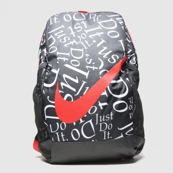Nike Black & Red Kids Brasilia Backpack Bags