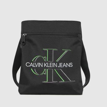 CALVIN KLEIN Black Flatpack Front Zip Glow Bags