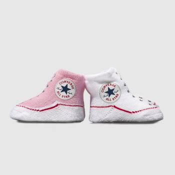 Converse White & Pink Booties Socks