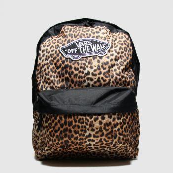 Vans black & brown realm leopard backpack