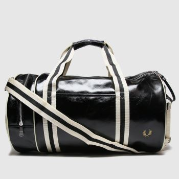Fred Perry White & Black Classic Barrel Bags