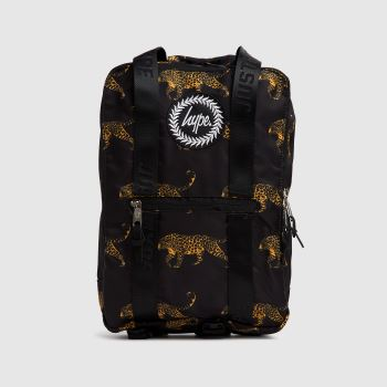Hype Black Black Leopard Boxy Backpack Bags