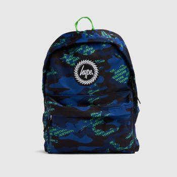 Hype Navy & Green Neon Logo Camo Backpack Bags