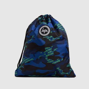 Hype Navy & Green Neon Logo Drawstring Bag Bags