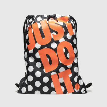 Nike Black & Orange Heritage Gym Sack Bags