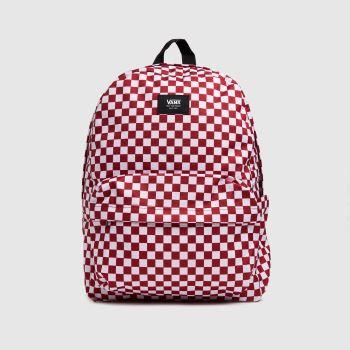 Vans White & Red Old Skool Check Backpack Bags