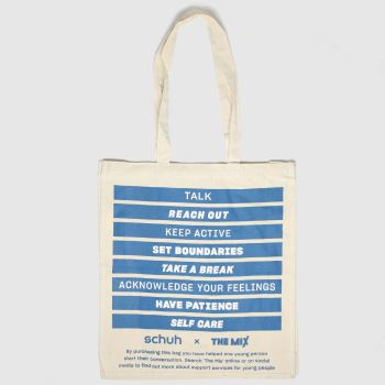 schuh White & Blue The Mix Cotton Tote Bags