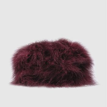 ACCESSORIES MISSGUIDED BURGUNDY FEATHER CLUTCH BAG