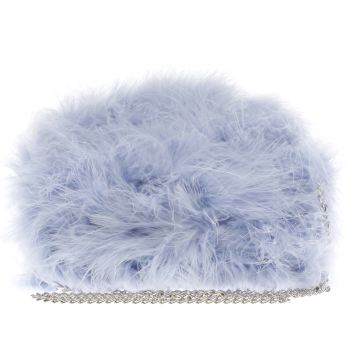 ACCESSORIES MISSGUIDED LIGHT BLUE FEATHER CLUTCH BAG