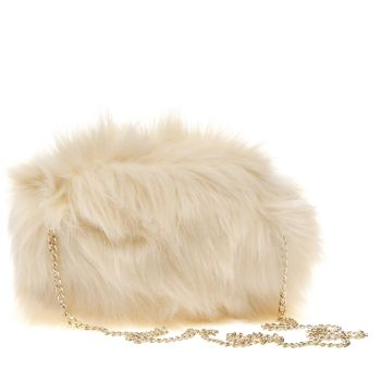 ACCESSORIES MISSGUIDED CREAM FAUX FUR CLUTCH BAG