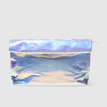 ACCESSORIES MISSGUIDED SILVER ROLL TOP CLUTCH