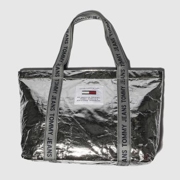 Tommy Hilfiger Silver Tj Logo Tape Tote Tp Bags