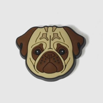 Jibbitz Beige & Brown Pug Face Shoe Accessories