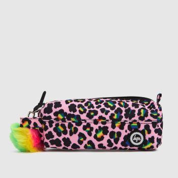 Hype Pink & Black Disco Leopard Pencil Case Bags