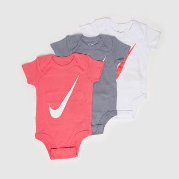Nike Pink Baby Swoosh Bodysuit 3 Pack Apparel