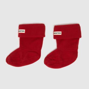 Hunter Red Kids Fleece Welly 1 Pack Socks