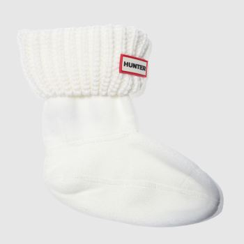 Hunter White Kids Half Cardigan Socks
