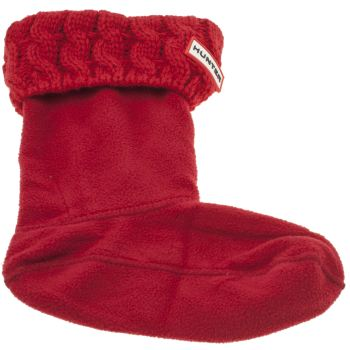 Hunter Rot Kids Cable Boot Socken