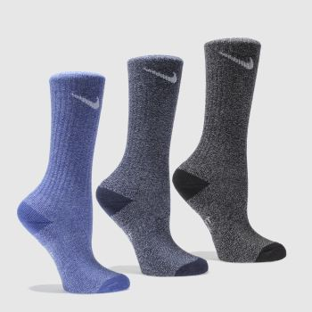 Nike Navy & Grey KIDS COTTON CREW SOCK Socks