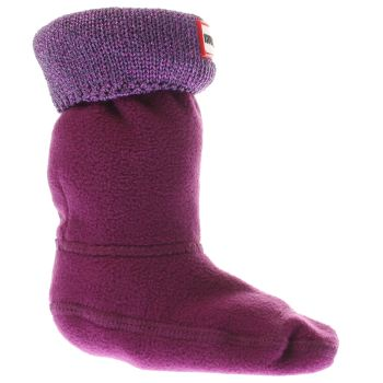 Hunter Purple Glitter Cuff Kids Sock Socks