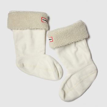 Hunter White Kids Sheepy Fleece Cuff Socks