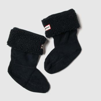 Hunter Black Kids Sheepy Fleece Cuff Socks
