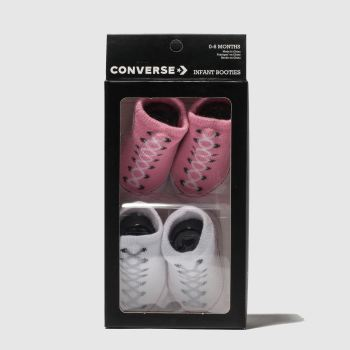 Converse White & Pink Cons Booties 2pk c2namevalue::Socks