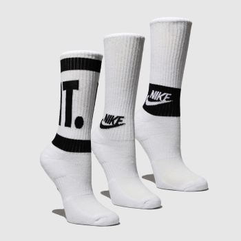 Nike White & Black CUSHIONED CREW TRAINING 3 PACK Socks