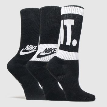 Nike Black & White Kids Crew Socks 3 Pk Socks
