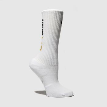 Nike White & Gold Kids Swoosh Crew 2 Pack Socks