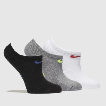 Nike Black & Grey Kids No Show 3 Pack Socks