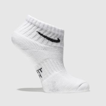 Nike White & Black Kids Cushioned 3 Pack Socks