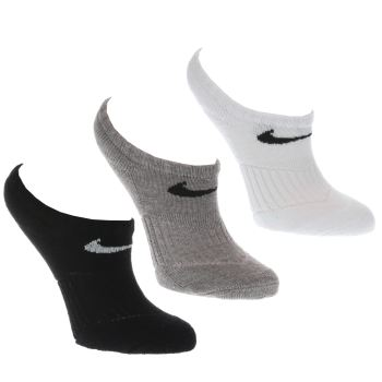ACCESSORIES NIKE WHITE & BLACK KIDS NO SHOW SOCK 3PK
