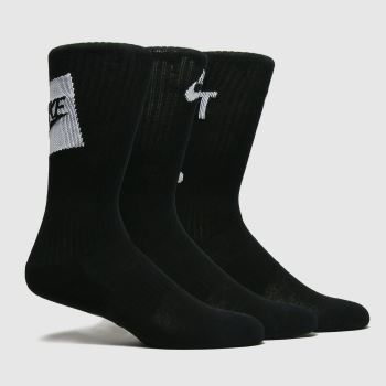 accessories Nike black & white kids everyday crew sock 3