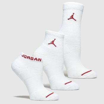 Nike Jordan White & Red Kids Jumpman 3pk Socks
