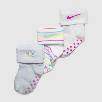 Nike White & grey Kids Rainbow Gripper 3pk Socks