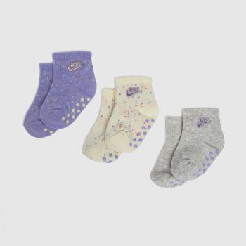 Nike Purple Baby Gripper Socks 3 Pack Socks