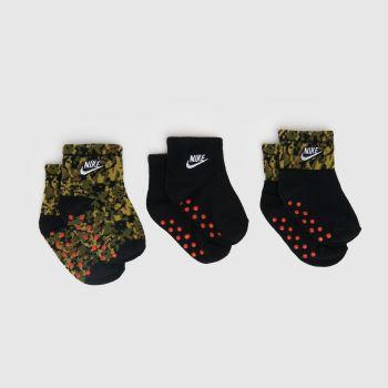 Nike Black & Green Baby Gripper Socks 3 Pack Socks