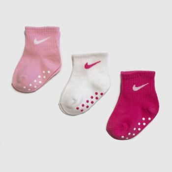 Nike White & Pink Core Swoosh No Slip Socks