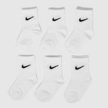 Nike White Kids Basic Crew 6 Pack Socks