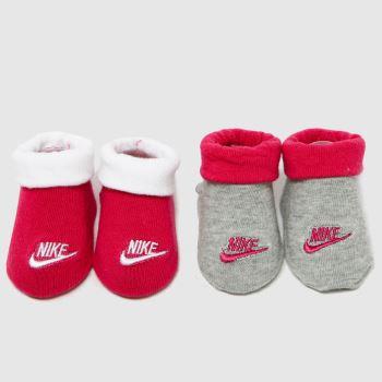 Nike Pink Futura Bootie 2 Pk Socks